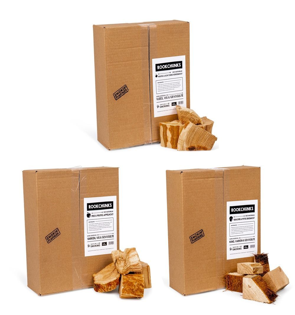 Smokin' Flavours chunks multipack: Eik, Appel & Hickory