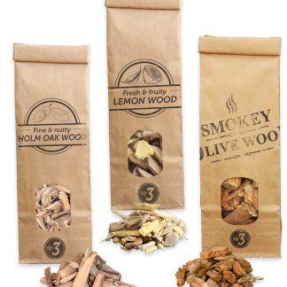Rooksnippers 3x 500ml olijf, citroen en steeneik Smokey Olive Wood